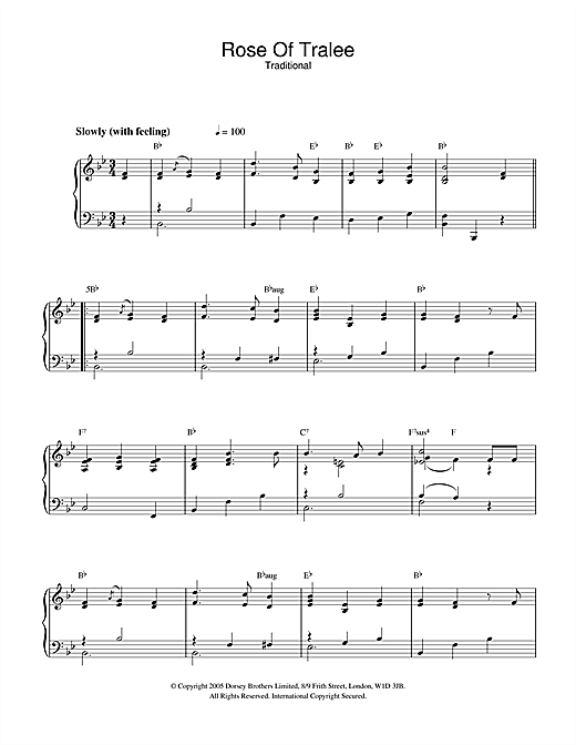 Rose Of Tralee Sheet Music