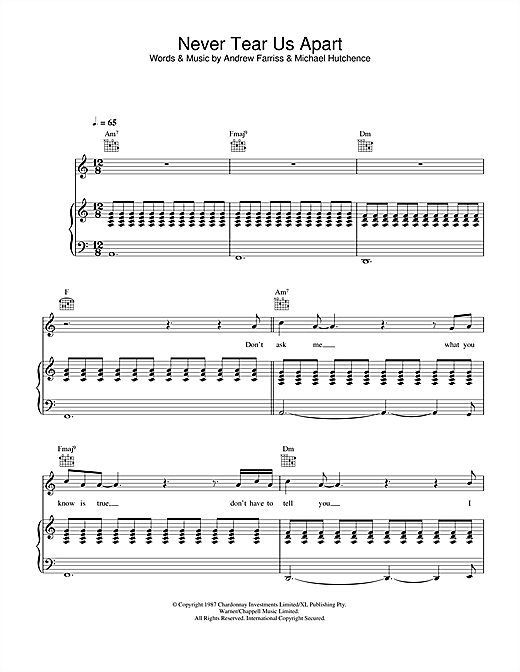 Never Tear Us Apart Sheet Music