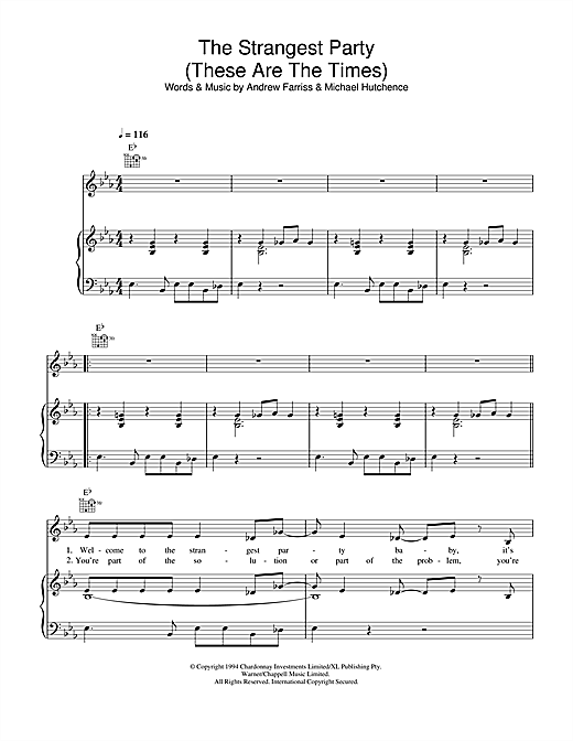 The Strangest Party (These Are The Times) Sheet Music