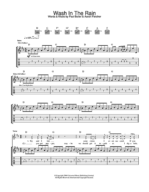 Wash In The Rain Sheet Music