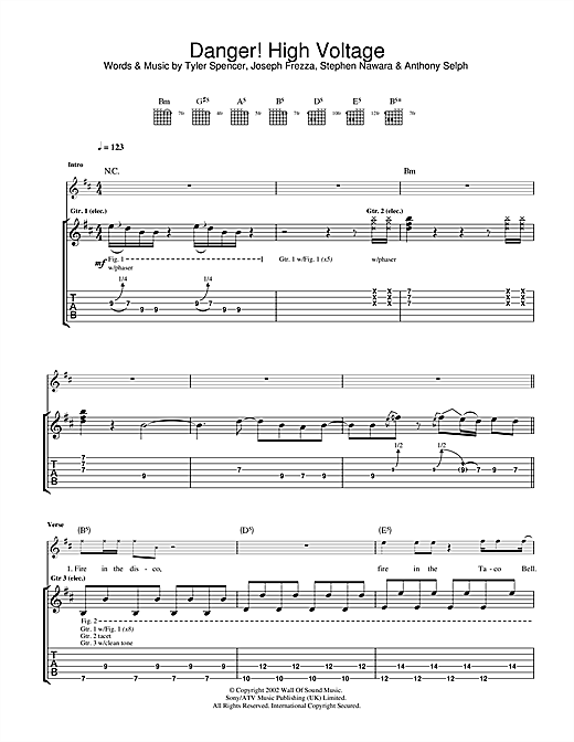 Danger! High Voltage (Guitar Tab)