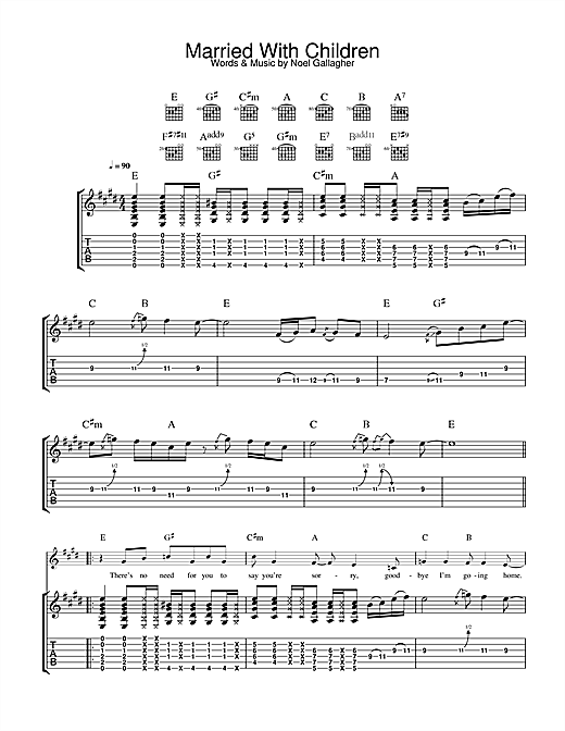 Tablature guitare Married With Children de Oasis - Tablature Guitare