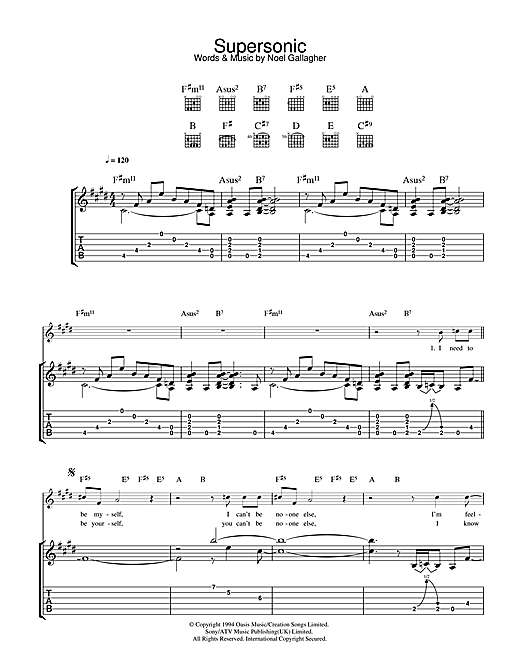 Tablature guitare Supersonic de Oasis - Tablature Guitare