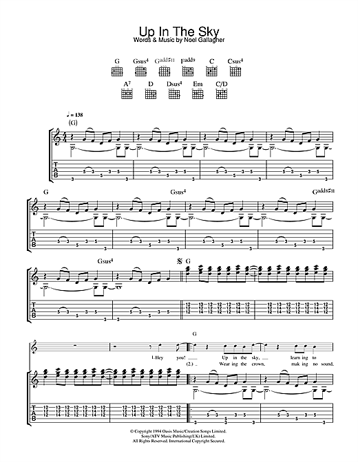 Tablature guitare Up In The Sky de Oasis - Tablature Guitare