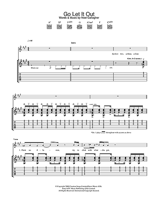 Go Let It Out (Guitar Tab)