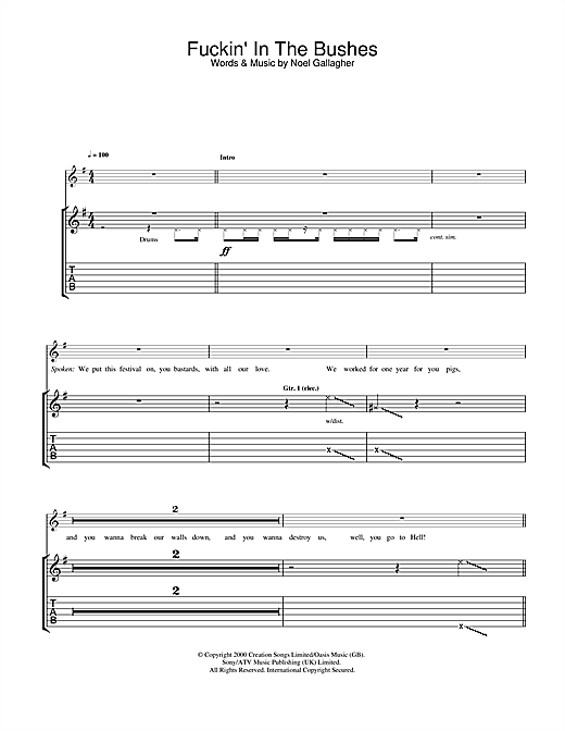 Fuckin' In The Bushes (Guitar Tab)