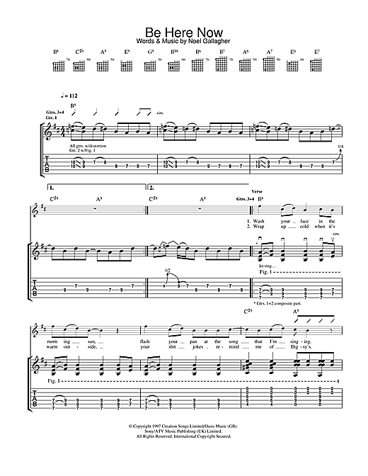 Tablature guitare Be Here Now de Oasis - Tablature Guitare