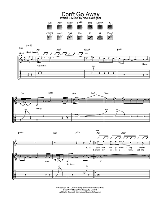Tablature guitare Don't Go Away de Oasis - Tablature Guitare