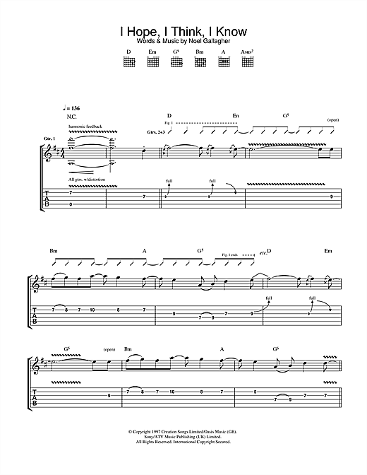 I Hope, I Think, I Know (Guitar Tab)