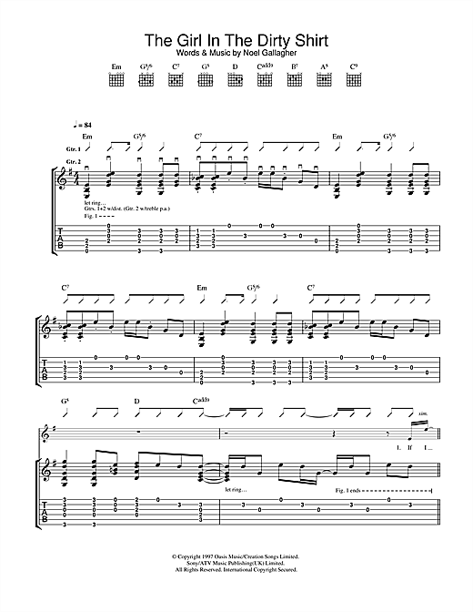 The Girl In The Dirty Shirt (Guitar Tab)
