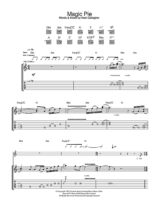 Tablature guitare Magic Pie de Oasis - Tablature Guitare