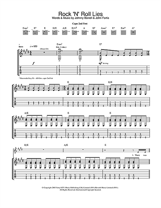 Rock 'n' Roll Lies (Guitar Tab)