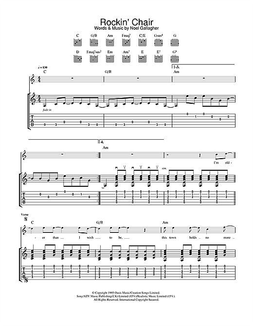 Tablature guitare Rockin' Chair de Oasis - Tablature Guitare