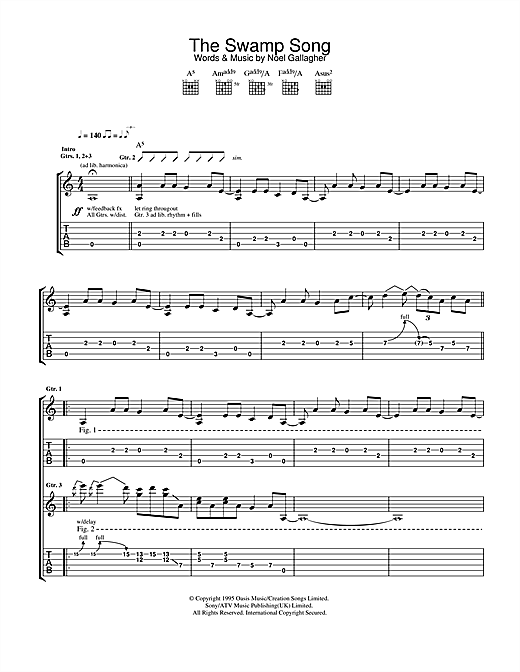 The Swamp Song (Guitar Tab)