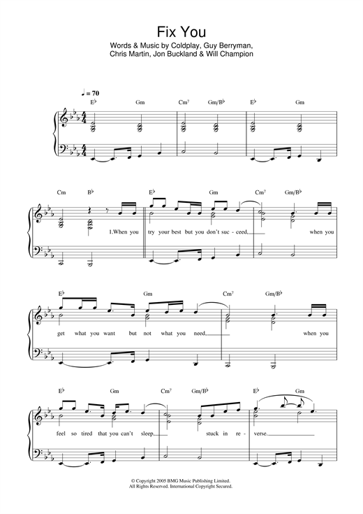 Fix You sheet music by Coldplay (Easy Piano u2013 32726)
