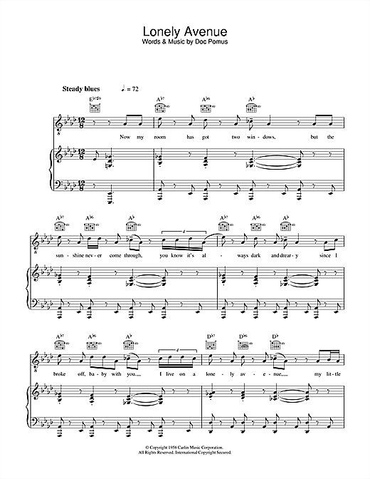 Lonely Avenue Sheet Music