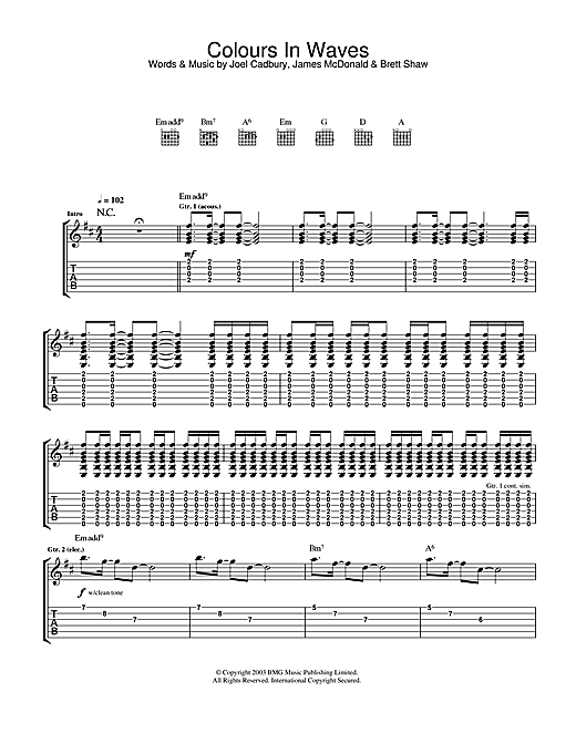 Tablature guitare Colours In Waves de South - Tablature Guitare