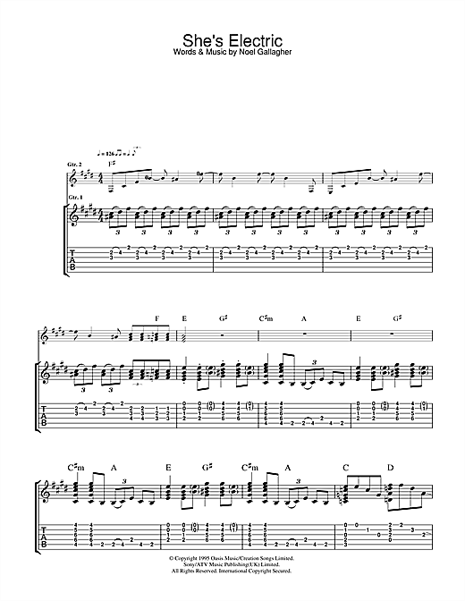 Tablature guitare She's Electric de Oasis - Tablature Guitare