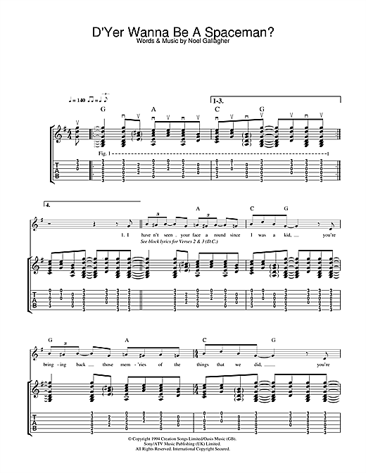 D'Yer Wanna Be A Spaceman? (Guitar Tab)