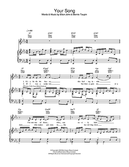 Piano tablature piano debutant : Your Song partition par Elton John (Piano, Chant et Guitare – 32762)