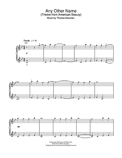 Partition piano Any Other Name (theme from American Beauty) de Thomas Newman - Piano Facile