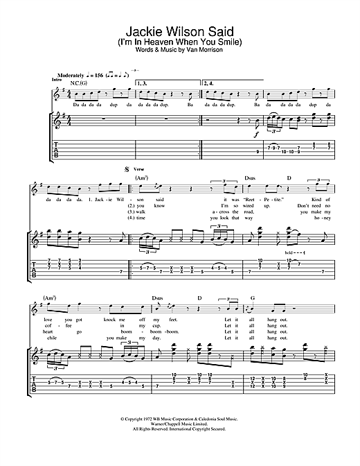 Tablature guitare Jackie Wilson Said (I'm In Heaven When You Smile) de Van Morrison - Tablature Guitare