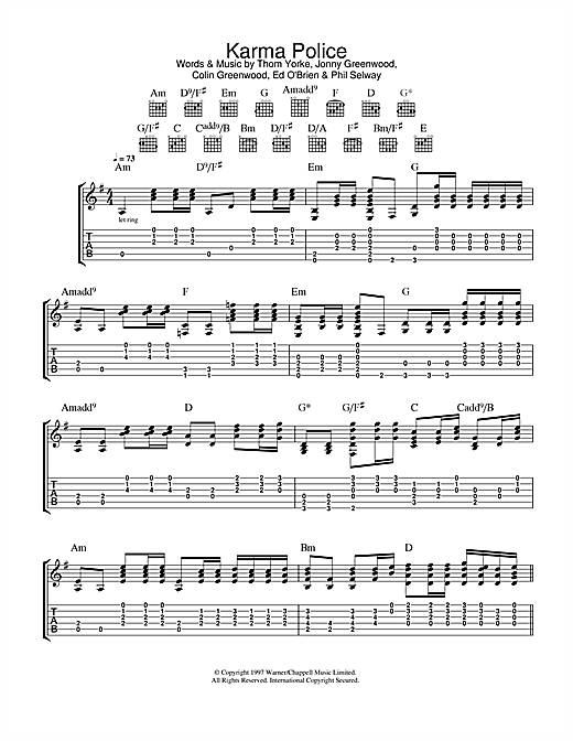 Karma Police Sheet Music