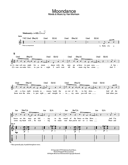 Tablature guitare Moondance de Van Morrison - Tablature Guitare