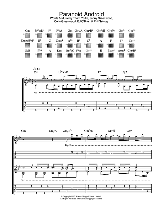 Paranoid Android Sheet Music