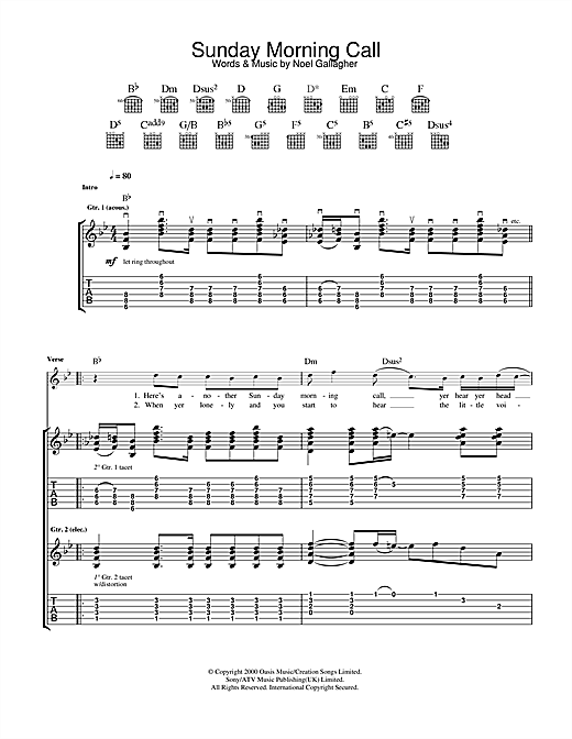 Tablature guitare Sunday Morning Call de Oasis - Tablature Guitare