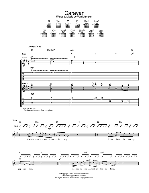 Tablature guitare Caravan de Van Morrison - Tablature Guitare