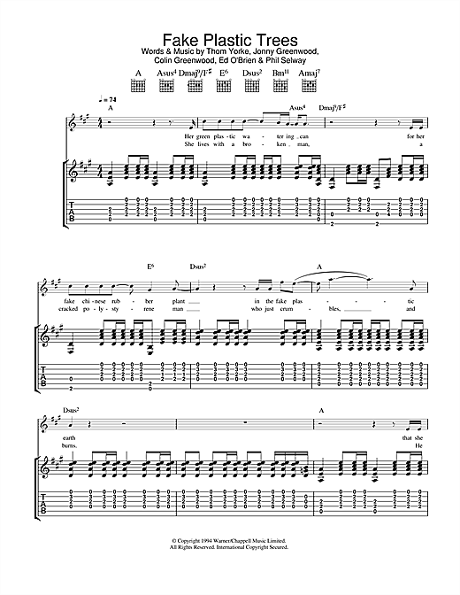 Fake Plastic Trees Guitar Tab by Radiohead (Guitar Tab – 32784)