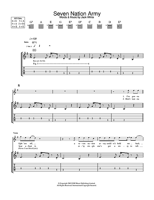 Tablature guitare Seven Nation Army de The White Stripes - Tablature Guitare