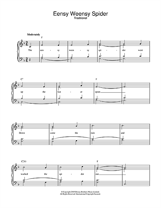Eensy Weensy Spider Sheet Music