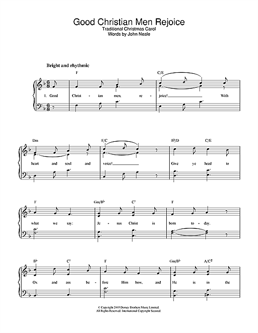Good Christian Men, Rejoice Sheet Music
