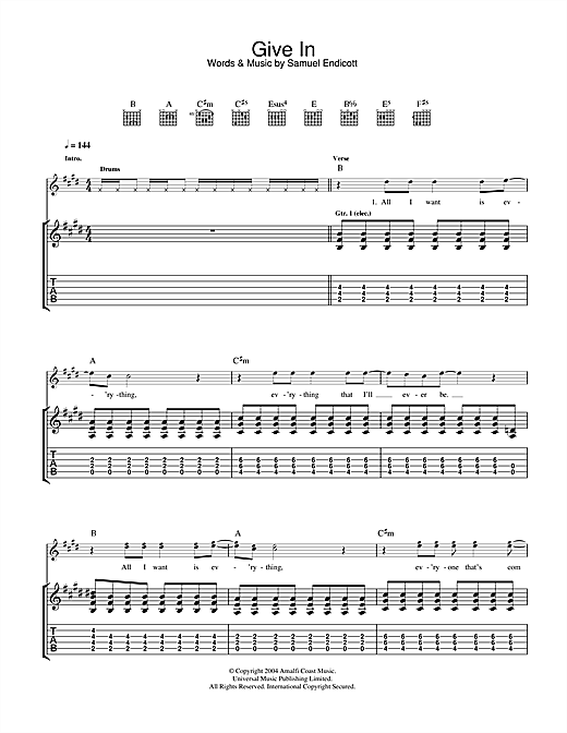 Tablature guitare Give In de The Bravery - Tablature Guitare