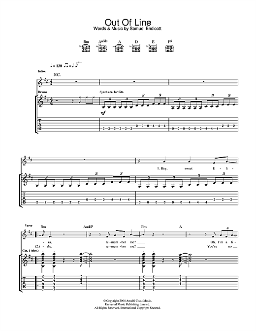 Out Of Line Sheet Music