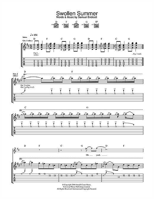 Tablature guitare Swollen Summer de The Bravery - Tablature Guitare