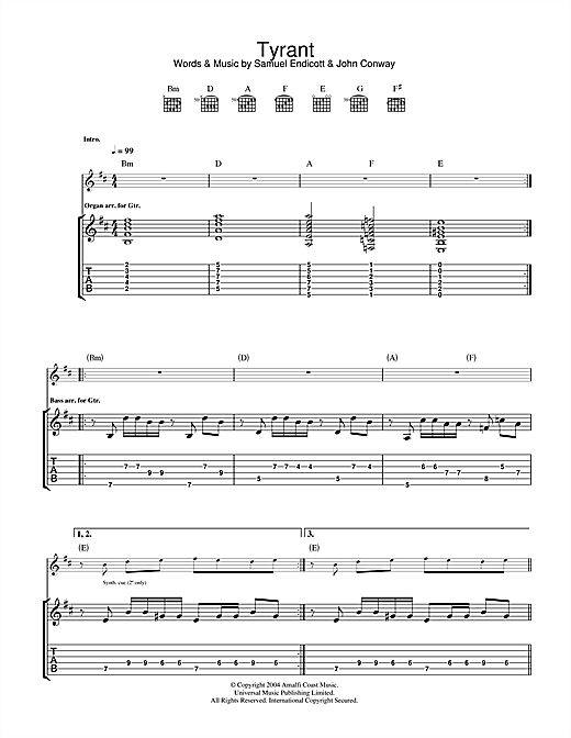 Tyrant Sheet Music