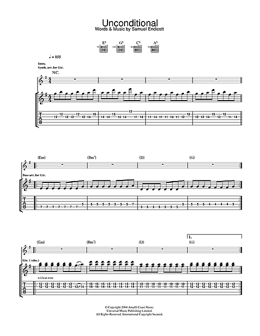 Tablature guitare Unconditional de The Bravery - Tablature Guitare