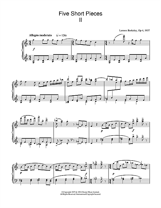 Partition piano Five Short Pieces, No.2, Op.4 de Lennox Berkeley - Piano Solo