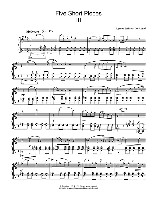 Five Short Pieces, No.3, Op.4 Sheet Music