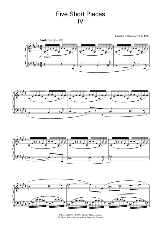Five Short Pieces, No.4, Op.4 Sheet Music