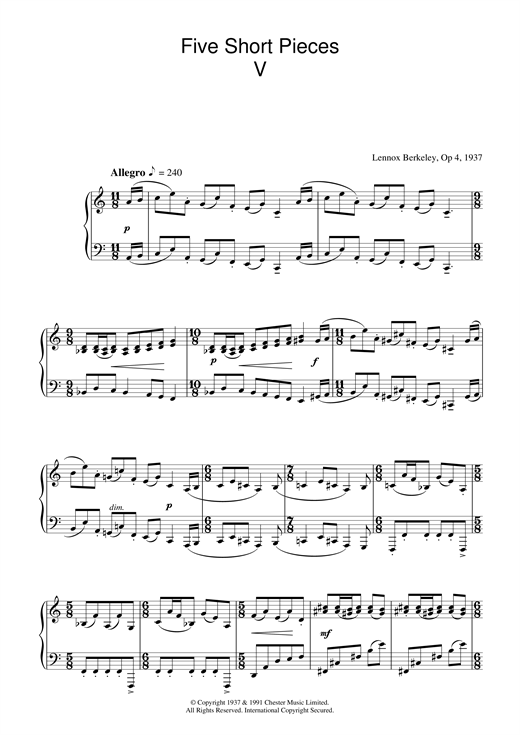 Five Short Pieces, No.5, Op.4 Sheet Music