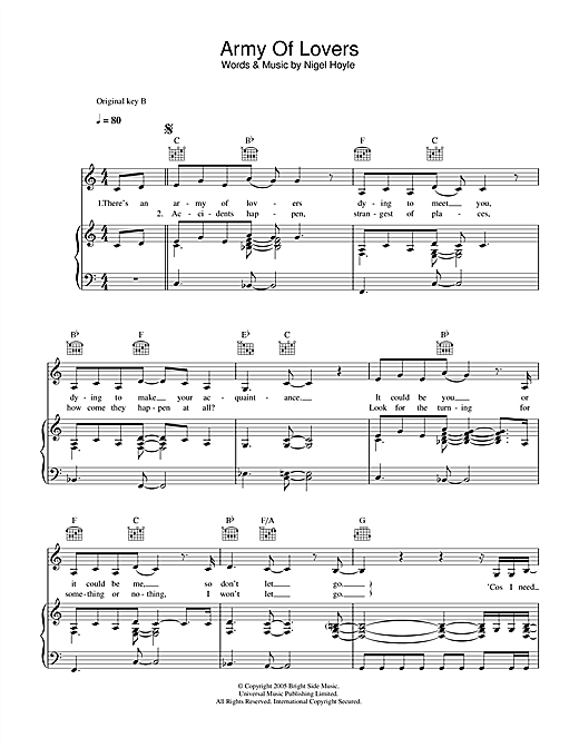 Army Of Lovers Sheet Music