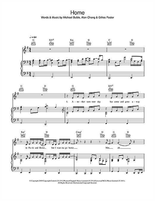 Home (Piano, Vocal & Guitar (Right-Hand Melody))