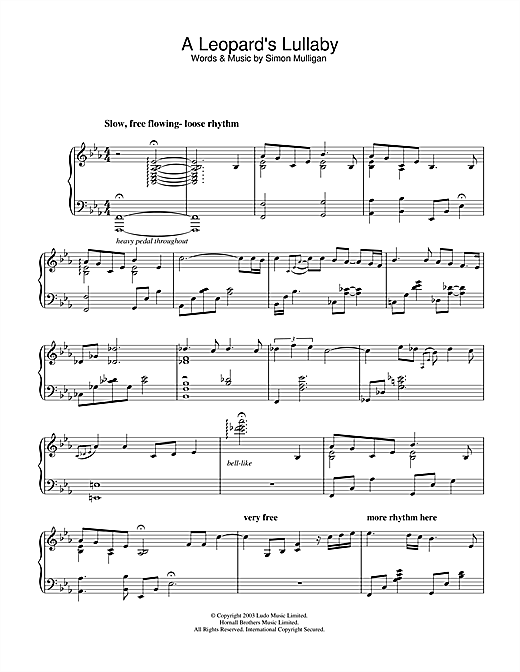 A Leopard's Lullaby Sheet Music
