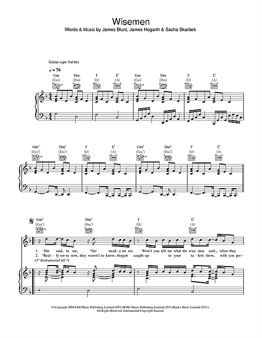 Wisemen (Piano, Vocal & Guitar (Right-Hand Melody))