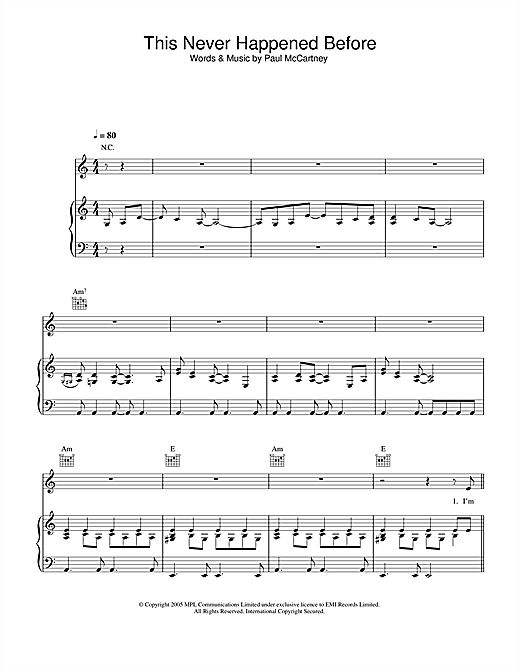 This Never Happened Before (Piano, Vocal & Guitar (Right-Hand Melody))