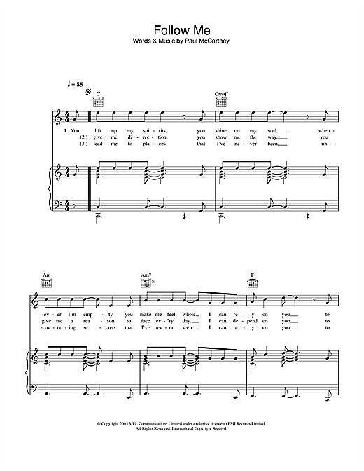 Follow Me Sheet Music